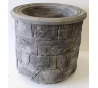 Бетонная декоративная цветочница из камня древний пласт Д-052. 40 литров